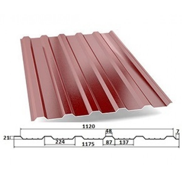 Купить Профнастил С21- А (Кровельный)  (0.55 мм) Окрашенный в Уфе цена