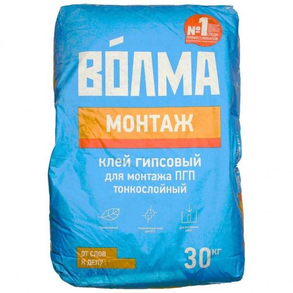 Купить Клей гипсовый Волма-Монтаж для монтажа ПГП, ГКЛ, ГВЛ 30 кг в Уфе цена